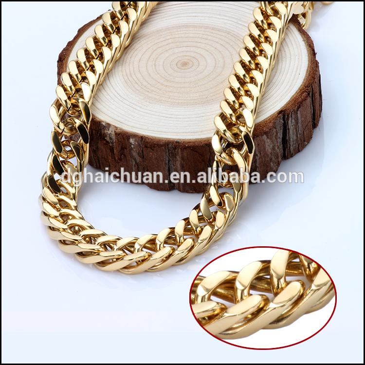 Factory Price 두바이 새 금 체인 design 대 한 men 18mm stainless steel gold plated 채워진 체인 목걸이