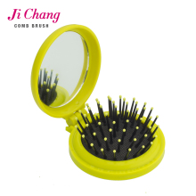 Rubber finishing round plastic hair comb and hair brush with mirror
