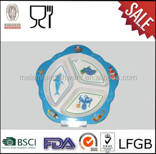 Divided plates melamine star shape dinner plates with custom printing