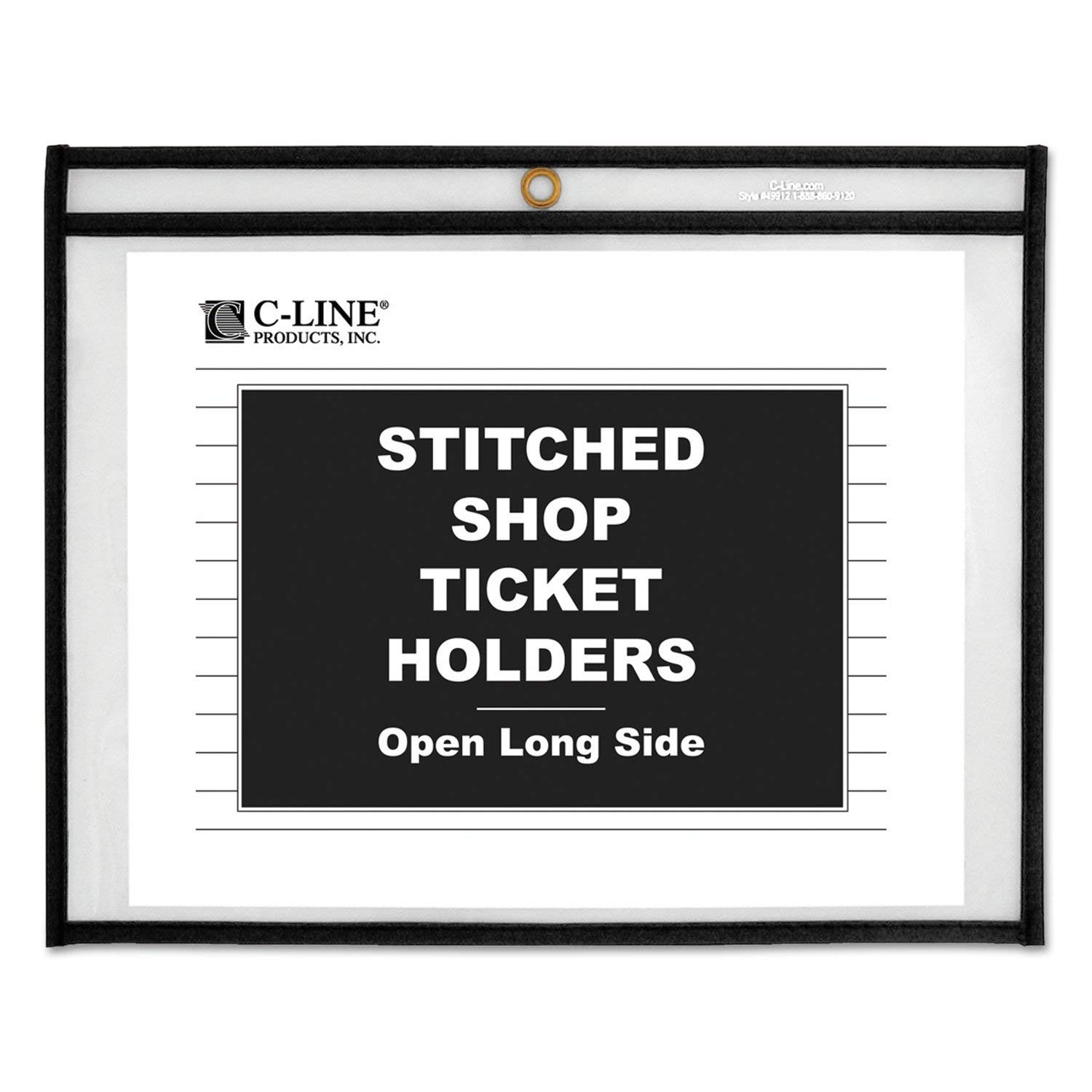 C-Line Shop Ticket Holders, Stitched, Sides Clear, 50 inch, 11 x 8 1/2, 25/BX