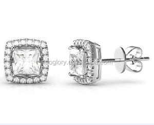 3.44 CTTW Halo Stud Earrings with cz's