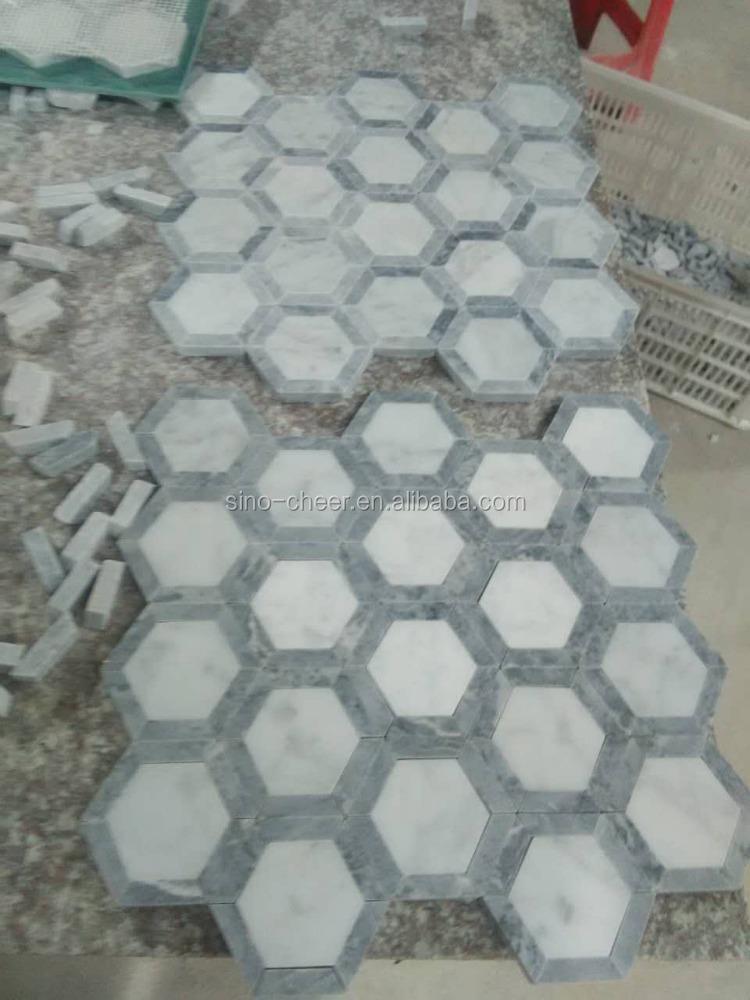 1 3 blanco de carrara marmol espiga del mosaico for Mosaicos de azulejos en paredes
