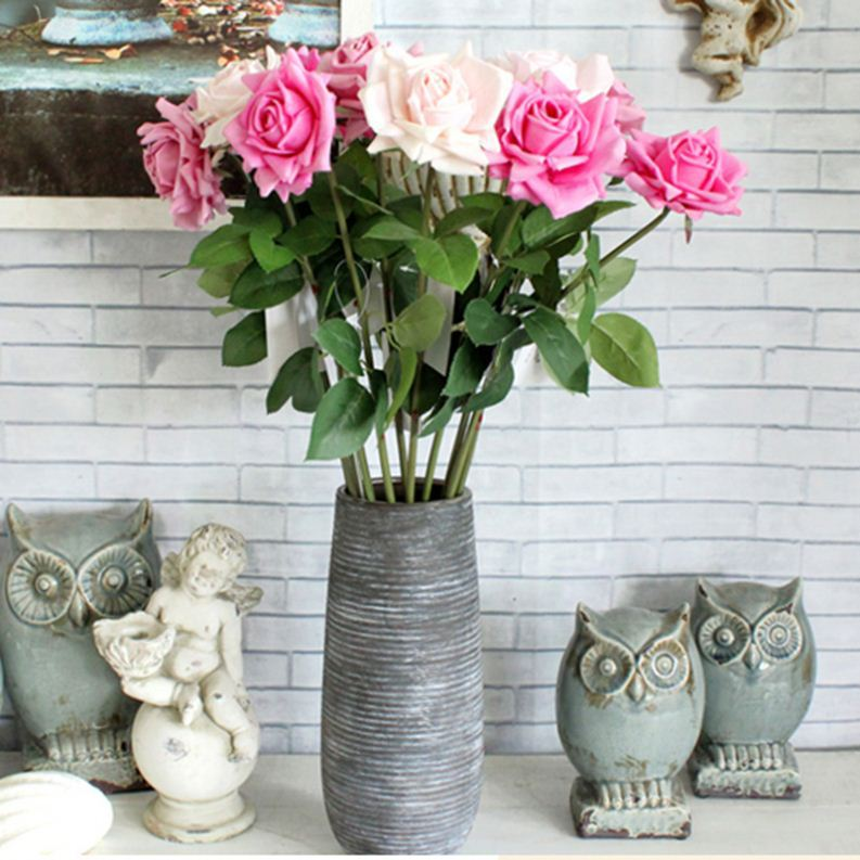 New Arrival Wholesale Authentic-looking silk artificial spring rose flower
