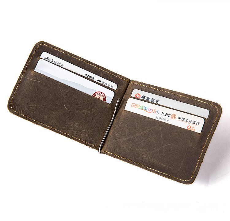 Real Leather Credit Card Holder Wallet With Money Clip For Men
