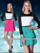 Tiered peplum long sleeve 2012 fashion clothing manufacturers
