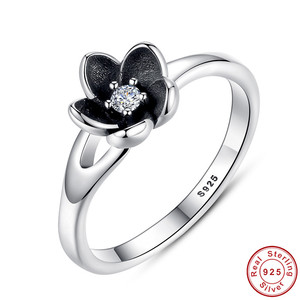 New Collection Authentic Mystic Floral Flower Stackable Ring CZ & Black Enamel 925 Sterling Silver Jewelry
