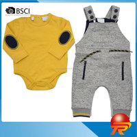 2017 China wholesale Eco-friendly knitted cotton breathable American size kid clothing sets for boy TRCF03