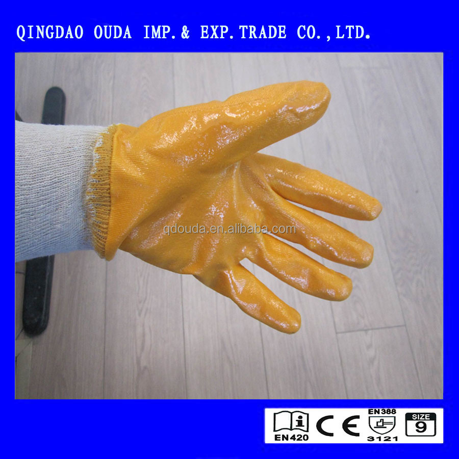 CE nitrile coated glove/oil proof safety glove,cotton jersey safety glove,oil resistance