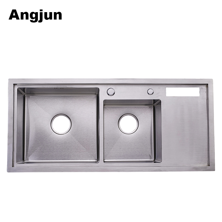 Double Bow Brushed Fish Cleaning Table dispenser soap Stainless Steel portable Kitchen Sink With Drain Board