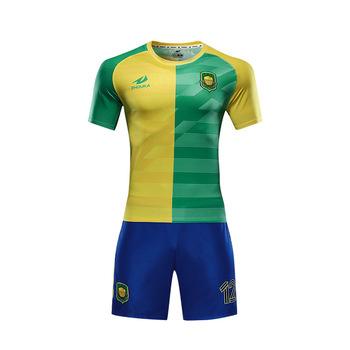 dac30c1666 Baixo MOQ Personalizado Qualidade Thai 100% Poliéster Dry Fit Camisa De  Futebol Novo Modelo Amarelo