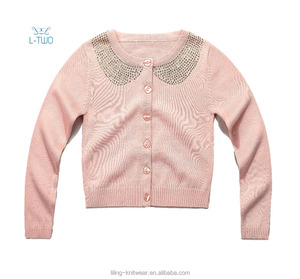 kids girl knit cardigan/children girls' round neck knit sweater with hot fix decoration cardigan