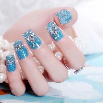 24pcs Long Sharp Glitter Flower Tips For Nail Art Transparent Style