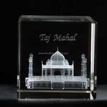 Transparent engraving 3d Taj Mahal crystal decoration for tourist souvenir