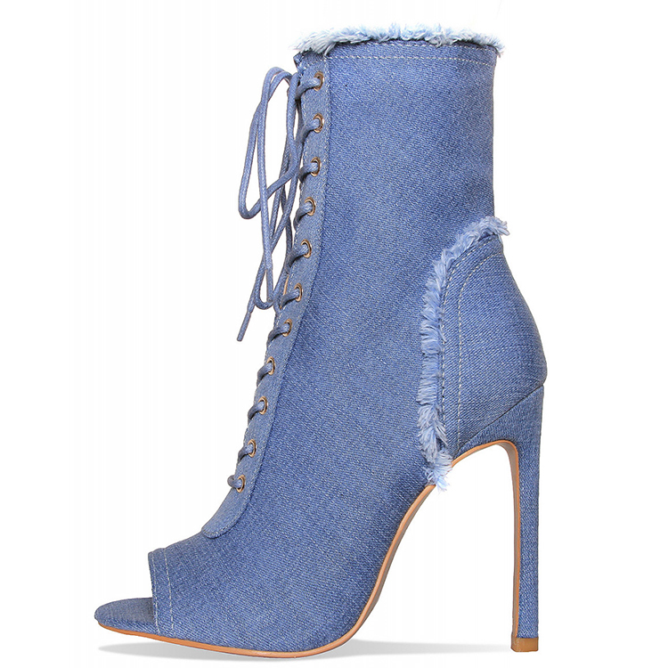 Fashion Women Frayed Edges and Peep Toe Lace Up High Heel Denim Boots
