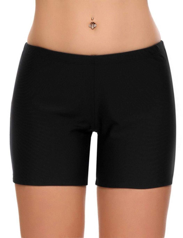 1633cd736d Get Quotations · Ouyilu Women Basic Solid High Elastic Waisted Shorts Swim  Bikini Bottom,Sport Bottom Skinny Board