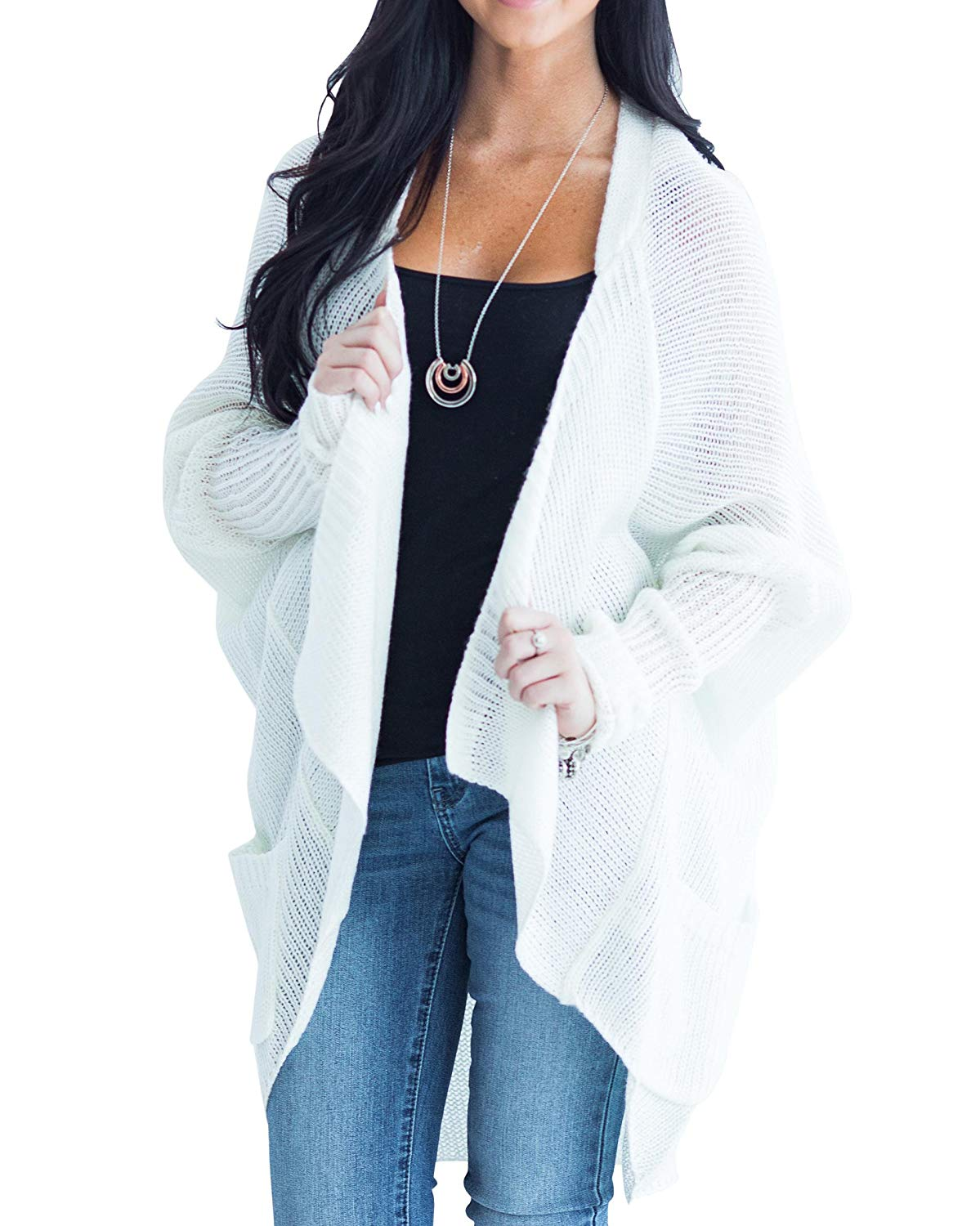 Ofenbuy Womens Cardigans Open Front Long Sleeve Lightweight Loose Knit Cardigan Sweaters