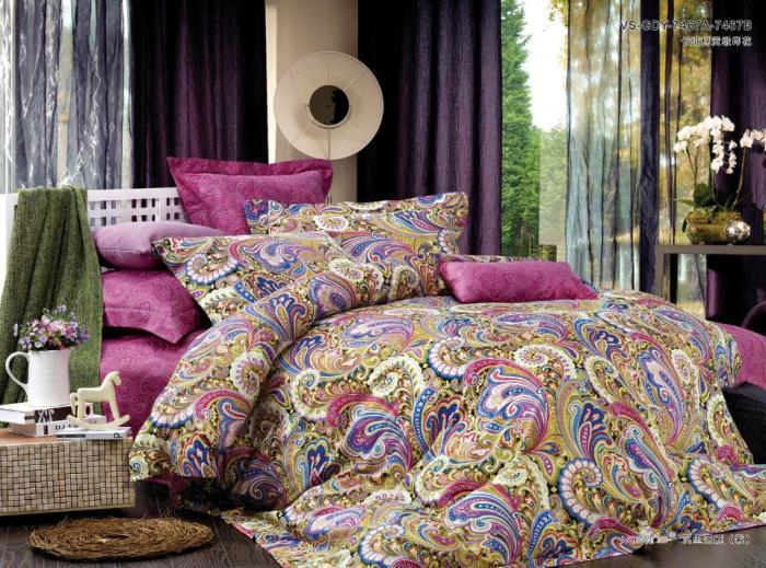luxury egyptian cotton pink paisley boho bedding comforter king queen size duvet cover sheets. Black Bedroom Furniture Sets. Home Design Ideas
