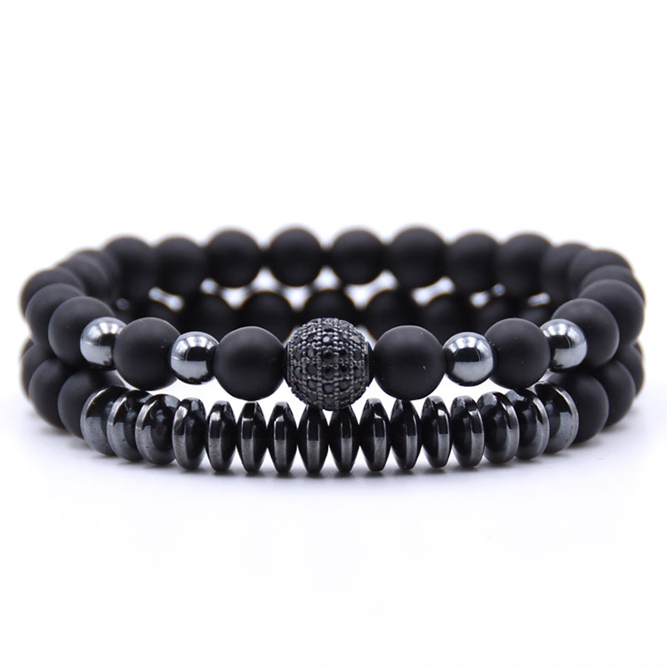 2 pc/sets beads Natural 돌 Bracelets 대 한 women Micro Pave CZ 볼 Charms Bracelet Men jewelry (KB8023)