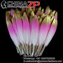 ZPDECOR New Arrival Three Tone Dyed Gold Tip and Light Pink Duck Feathers for Carnival Costumes Design