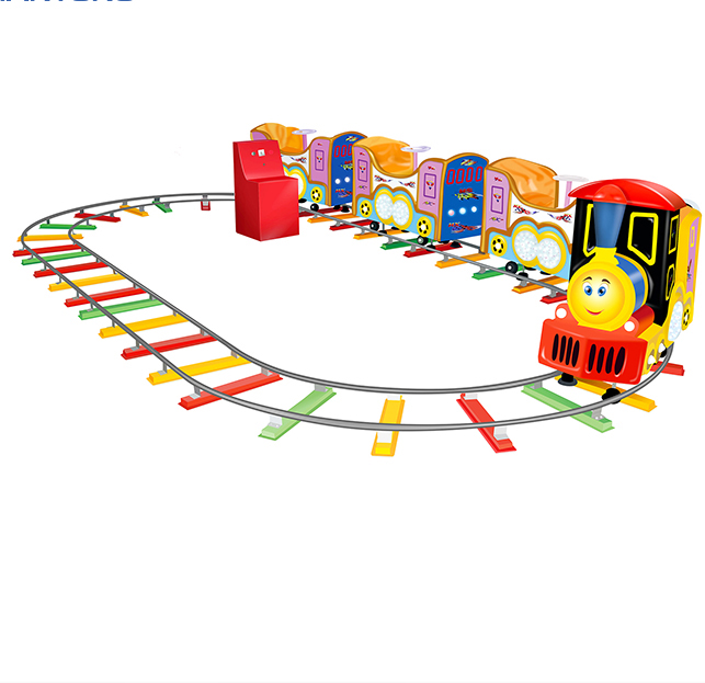 Small kiddy rides suit for park 7 players mini track train coin operated train rides game machine