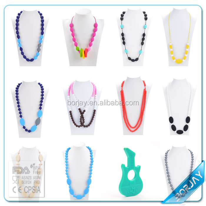 Baby and Mommy Beads Food Silicone Teething Necklace Pendants Nursing