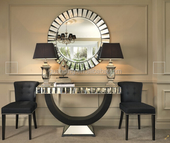 Luxury hotel washroom lobby decor console table mirror for Hotel decor items