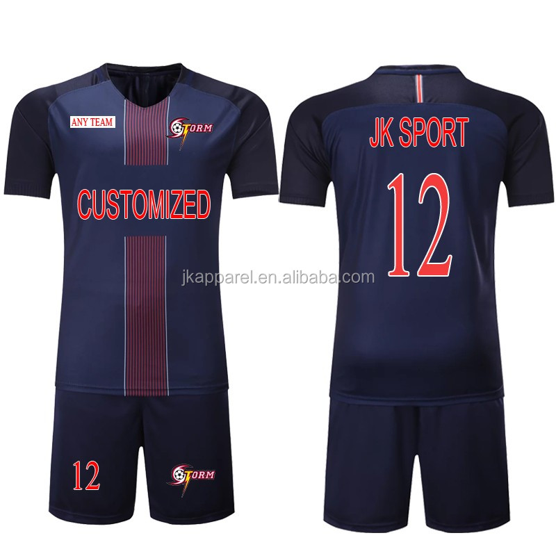 2017-2018 cheap soccer jerseys stripe short sleeve custom your logo name number sport uniform