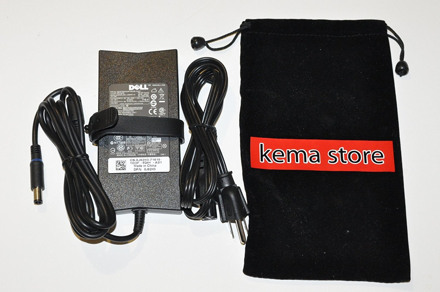 Bundle - 3 items: Adapter, Power Cord and KEMA ADAPTER BAG POUCH. Genuine Dell 90W 19.5V 4.62A New Slim AC Adapter For Dell Model Numbers: Dell Inspiron 700M, Dell Inspiron 710M, Dell Inspiron 7420, Dell Inspiron 7500, Dell Inspiron 7520, Dell Inspiron 7720, Dell Inspiron 8500, Dell Inspiron 8600,