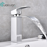 Single Handle Hot Cold Waterfall Bathroom Faucet