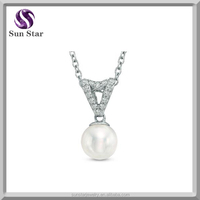 7.5mm Cultured Freshwater Pearl and Diamond Pendant in Sterling Silver