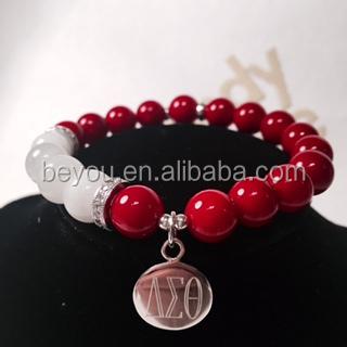 Delta Sigma Theta Letters Sororityred Beads Customized Charm Bracelet Jewelry