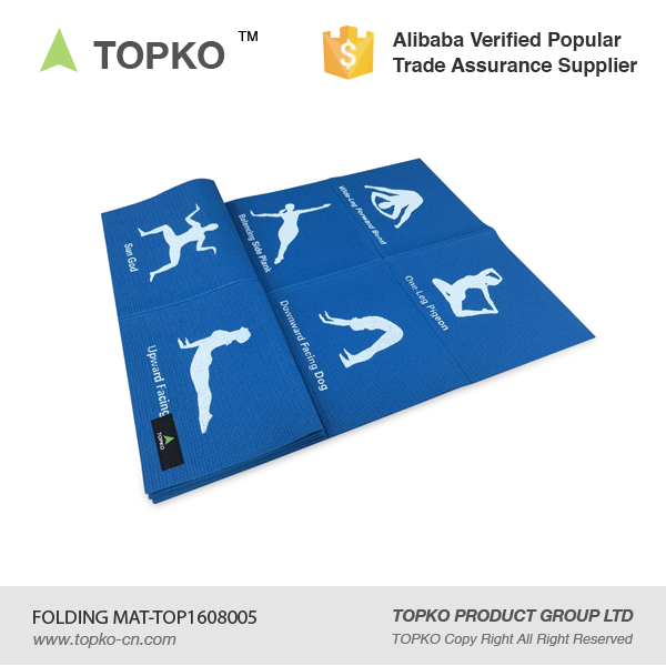TOPKO Eco friendly foldable custom print PVC yoga mat 6p free Travel Mat