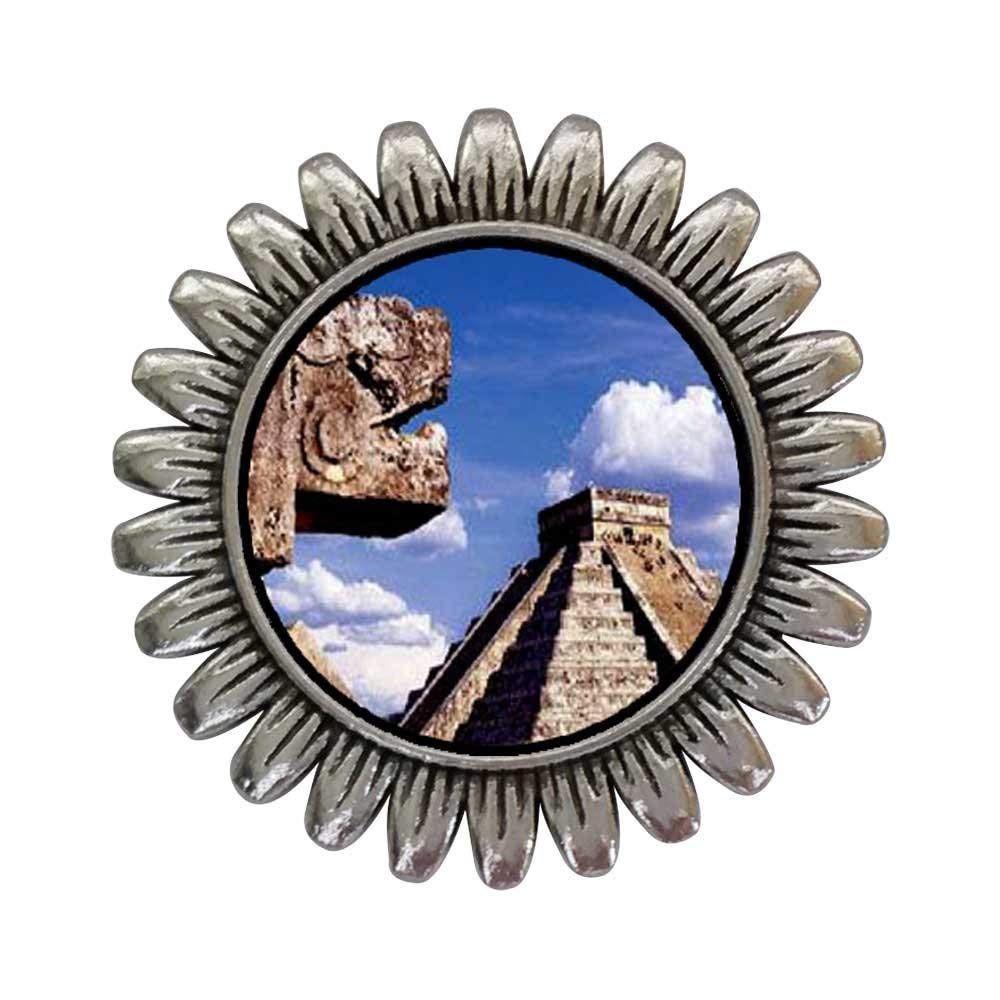GiftJewelryShop Ancient Style Silver Plate Travel Chichen Itza Mexico Sunflower Pins Brooch