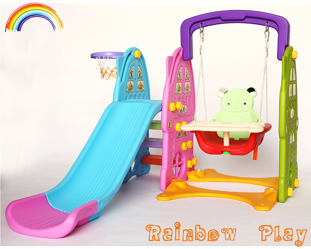extended bear baby plastic <strong>slide</strong> with swing indoor playset
