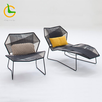 High quality 5 star hotel industrial waterproof cast aluminum rope woven beach lounge pool chair
