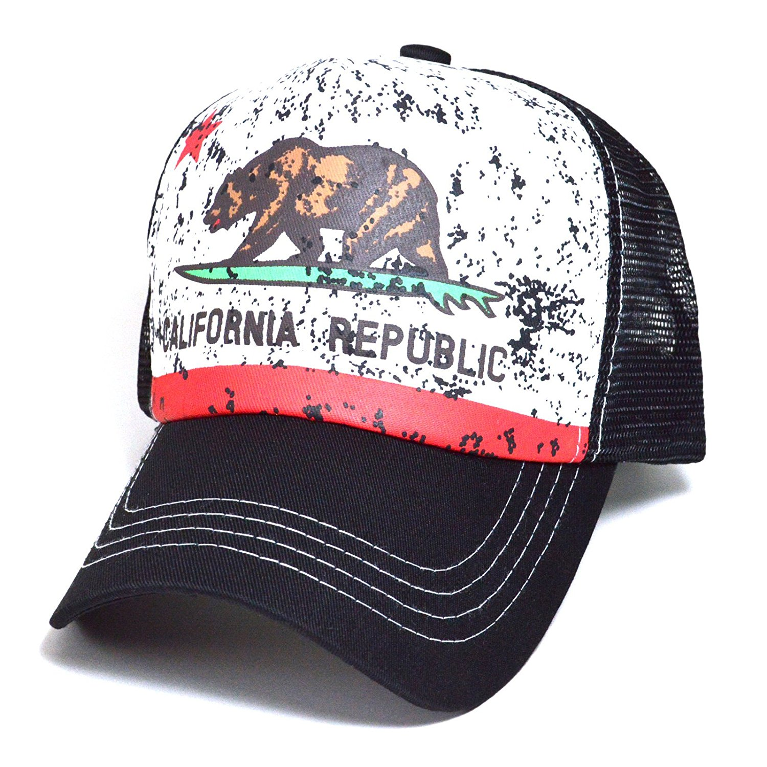 new products 6a0dd fbd30 Get Quotations · California State Flag Pitstop Mesh Truckers Cap Hat Men    Women