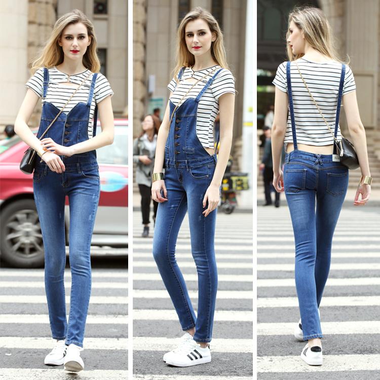 8d3ed6e8afa Fancy Women Tight Bandage Suspender Jumpsuit Denim Jean Overalls ...