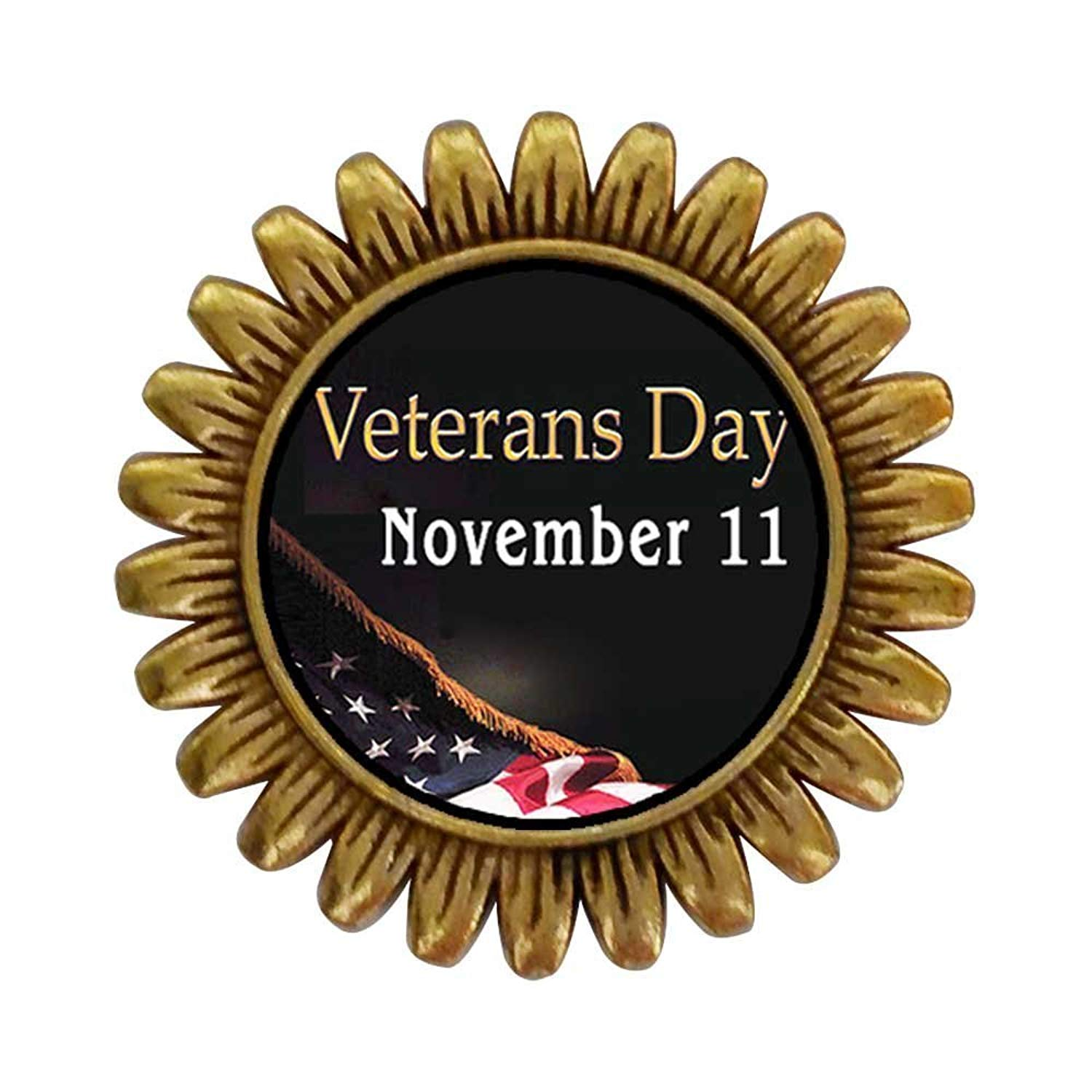 GiftJewelryShop Ancient Style Gold-plated November 11 Veterans Day Sunflower Pins Brooch