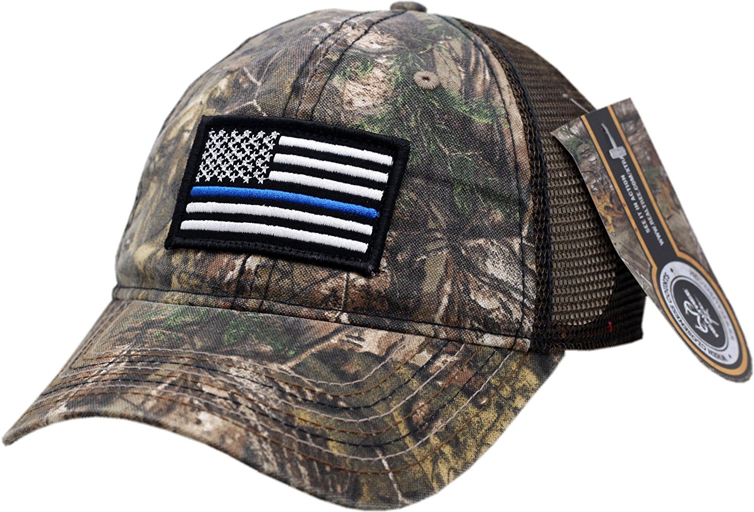 c48fedaa849 Get Quotations · American Flag Blue Line Camouflage Mesh Velcro Back Hat -10545