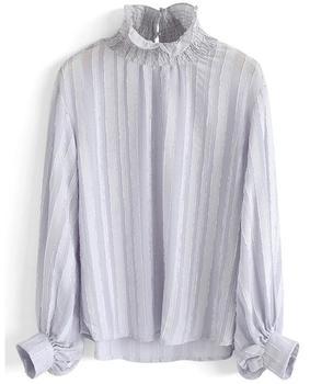 ae7911d257efa New Fashion Chiffon Striped Blouse Ruffle Stand Collar Lantern Sleeve Shirts  Women Summer Office Lady Blouse