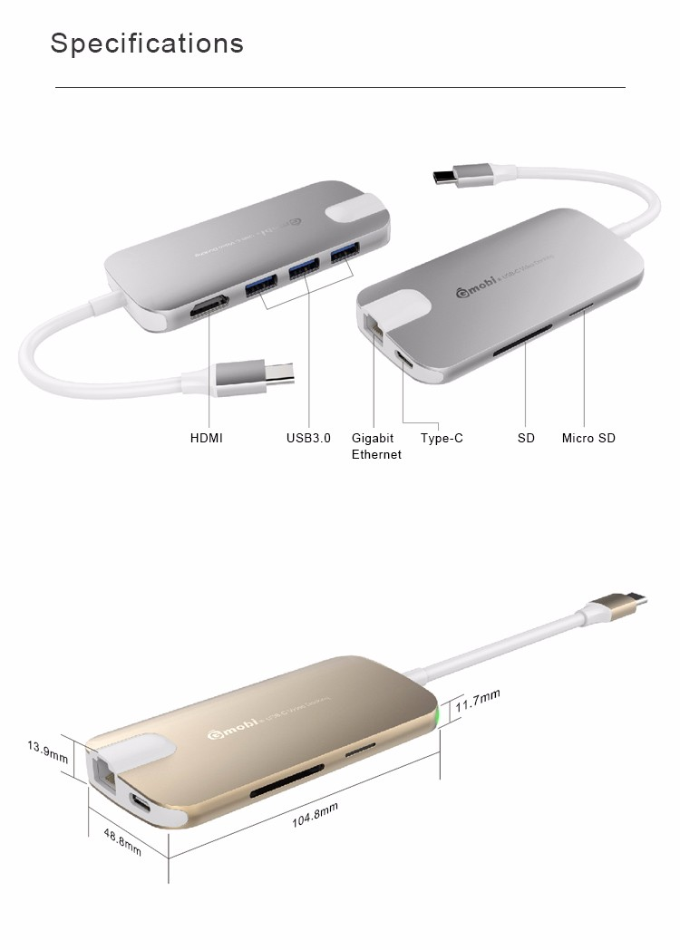2016 hottest Multiport USB-C adapter 8 port type-c 3.1 USB 3.0 Hub with 4K HDMI for MacBookPro