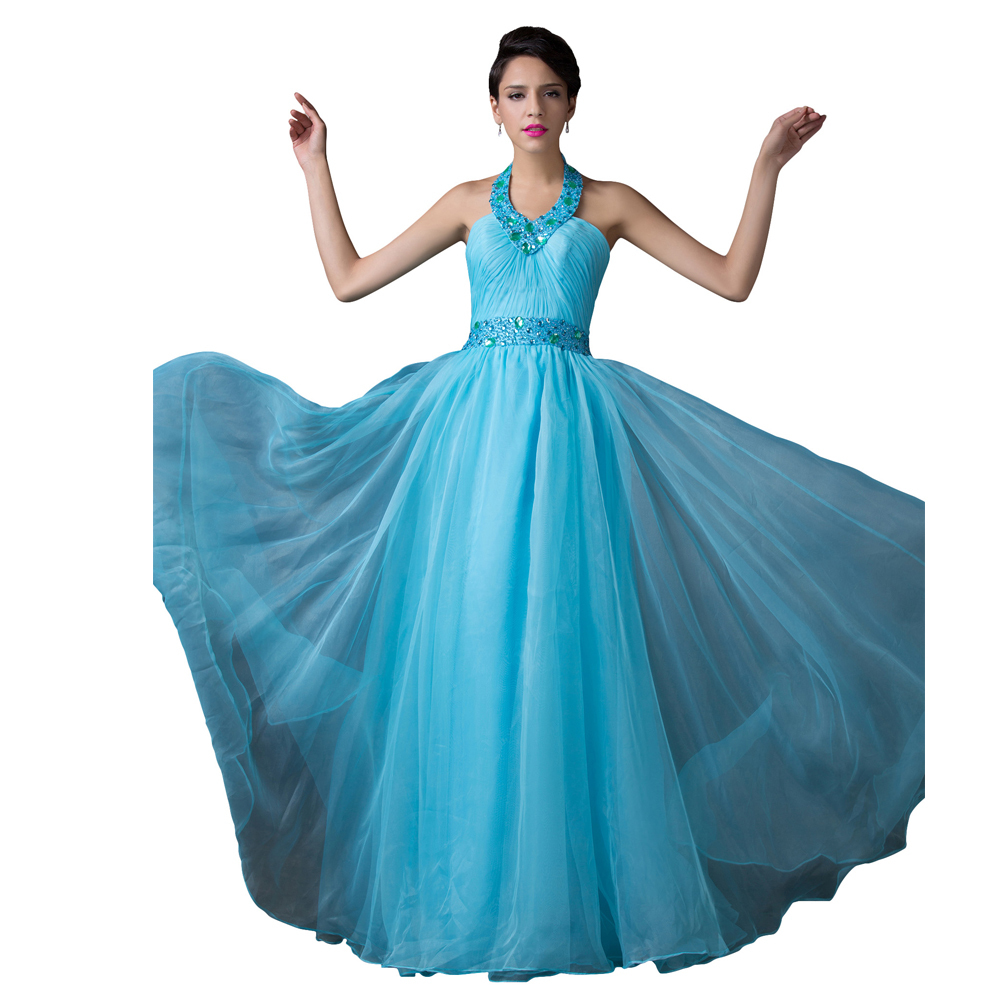 Get Quotations · 2015 Grace Karin Sky Blue Bandage Sexy Vestidos Rockabilly  Backless Halter Organza Ball Gown Long Evening 99040fc7ed63