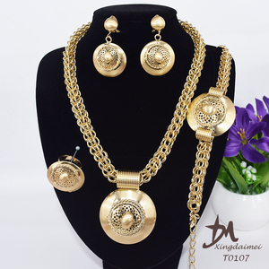 wholesale African set jewelry fashion, 18K gold plating women big jewelry set T0107