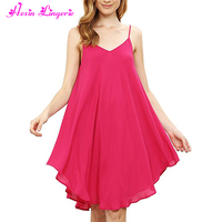 New Casual Rose Red Beach Sundress Short Women Dresses Summer