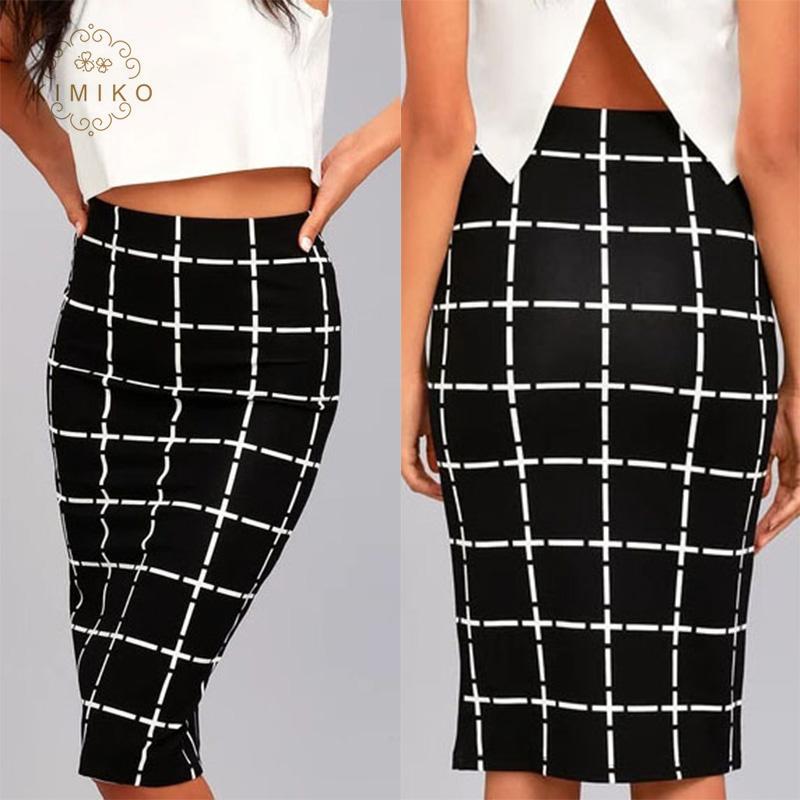 a226260d86d990 Fashion Office Women Formal Midi Skirt Tight Black Plaid Pencil Skirt