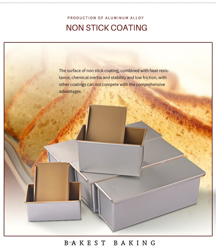 8929-8954 Golden Non Stick Rectangle Toast Box Loaf Bread Pan with Various Sizes