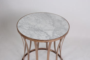 5 Star Hotel High End Marble Round Coffee Tables With Golden Brass Stainless  Steel Metal End