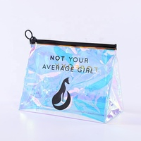 custom pvc ziplock holographic cosmetic bag with logo