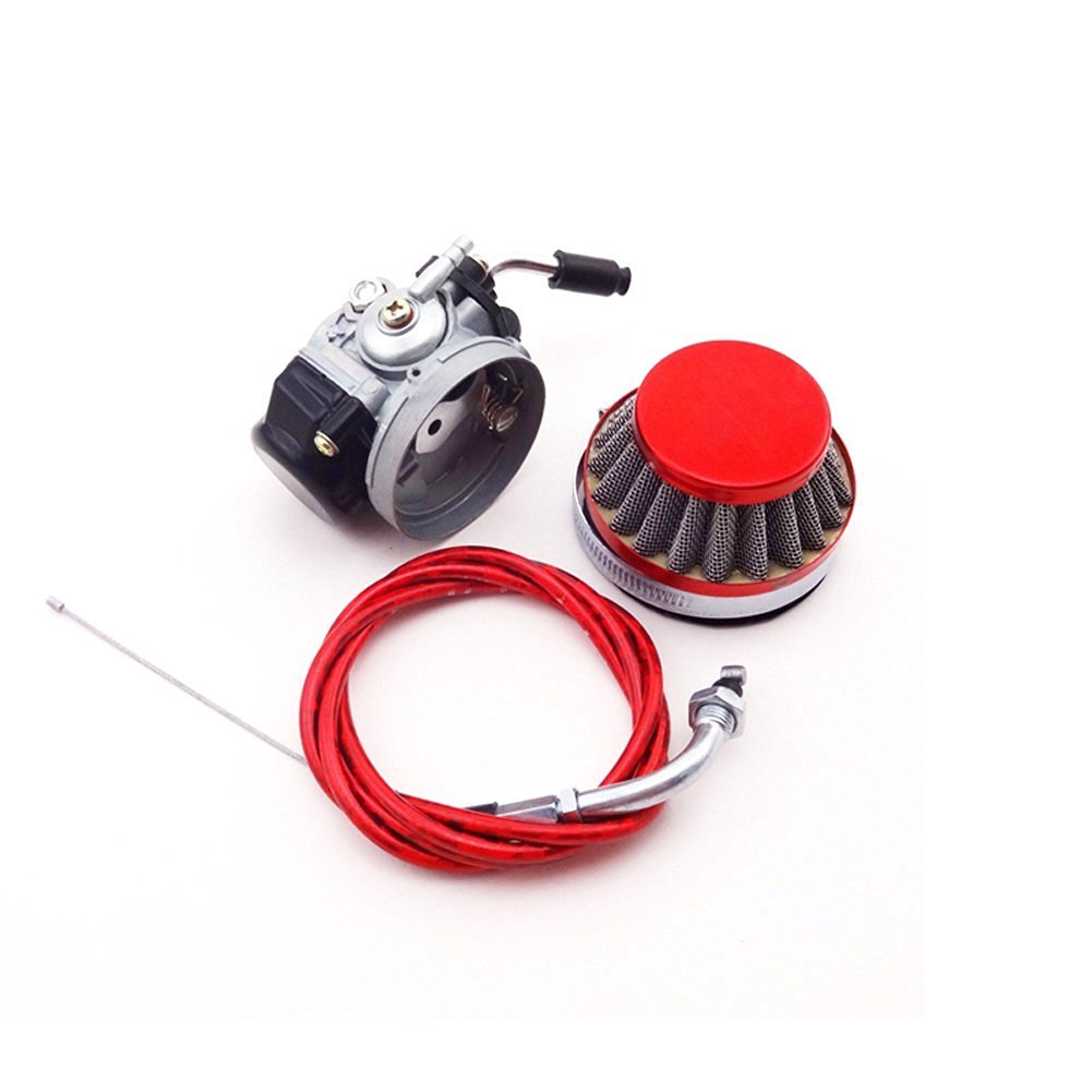 TC-Motor Racing Carburetor Carb + Red Air Filter + Gas Throttle Cable For 2 Stroke 49 50cc 60cc 66cc 80cc Engine Motorized Bicycle Push Bike