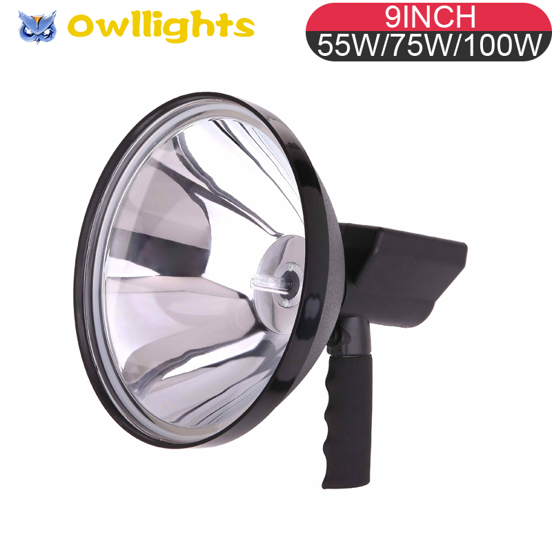 Car Accessories Offroad HID Driving Light 100w HID Spotlight 9inch 100w HID Handheld Spot light for Hunting, Searching SUV, ATV